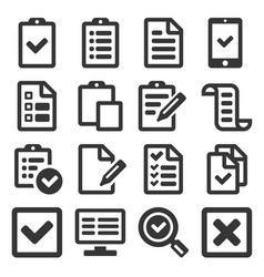 checklist survey icon set on white background vector image vector image