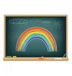 drawing rainbow by a chalk vector image vector image
