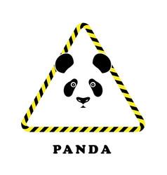 icon head panda in a triangle tape danger vector image