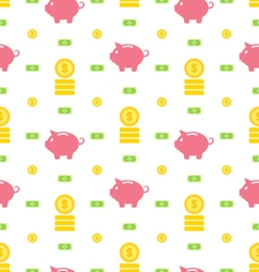 Seamless Pattern with Moneybox Bank Notes Coins vector image
