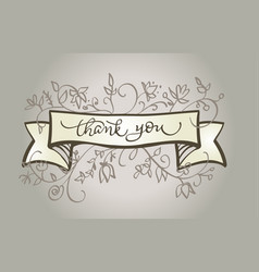 calligraphy thank you text beautiful vintage frame vector image