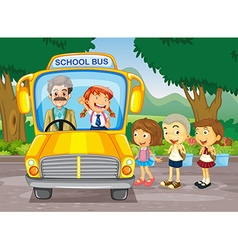 Children getting on school bus vector image vector image