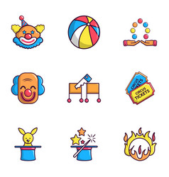 funfair icons set flat style vector image vector image