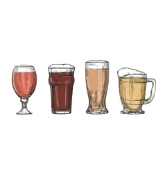 Glasses of beer freehand drawing vector image