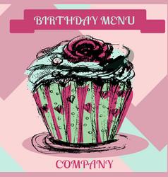 happy birthday cupcakemenu cover vector image