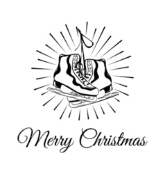 Ice skates merry christmas vintage winter greeting vector