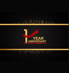 1 year anniversary logotype with golden color vector