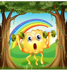 A monster exercising at the forest with a rainbow vector
