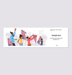 African american people holding usa flags and vector