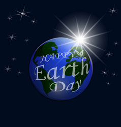 An inscription with a wish for happy earth day a vector