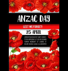 Anzac day poppy flower memorial banner design vector