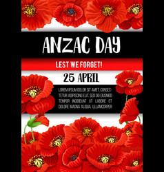 Anzac day poppy flower memorial banner design vector