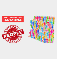 Arizona state map population people and unclean vector