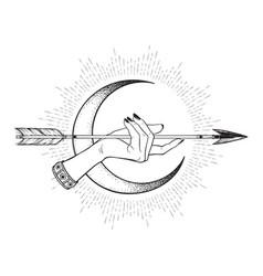 Arrow in female hand in front crescent moon vector