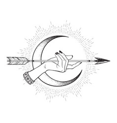 Arrow in female hand in front of the crescent moon vector