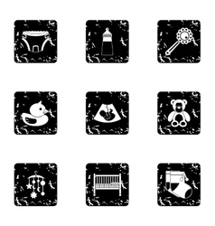Baby icons set grunge style vector image