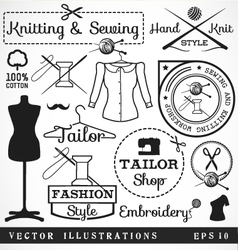 Badges and Signs for Tailor Shop vector