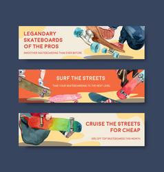 Banner template with skateboard design concept vector