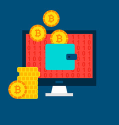 Bitcoin computer wallet concept vector