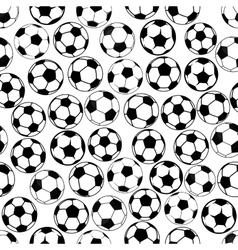 Black and white soccer balls seamless pattern vector