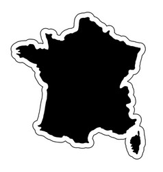 black silhouette of the country france with the vector image