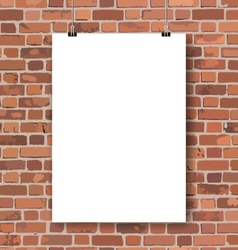 Blank poster on red brick wall vector