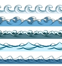 Blue waves seamless line patterns vector image