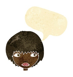 Cartoon unhappy girl with speech bubble vector