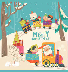 cheerful christmas train with santa children and vector image