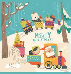 Cheerful christmas train with santa children vector