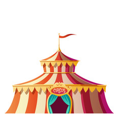 circus tent with red and white stripes on funfair vector image