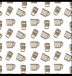 coffee cup pattern in watercolor silhouette on vector image