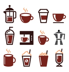 Coffee drinks coffee makers icons set vector image