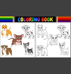 coloring book pets cartoon vector image
