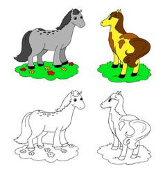 coloring cartoon horses vector image