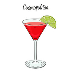 Cosmopolitan cocktail with lime for cafe and vector