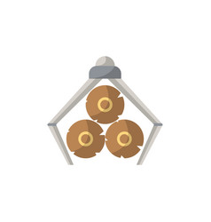 crane loading wooden logs icon in flat style vector image