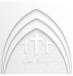 Cross for good friday on white brick background vector