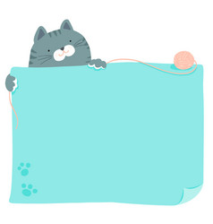 cute blue cat hold empty board vector image