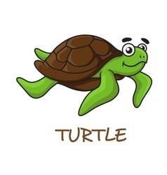 Cute happy cartoon turtle swimming vector