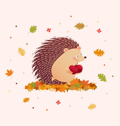 Cute hedgehog holding two apples vector