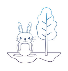 Degraded line cute male rabbit animal in the vector
