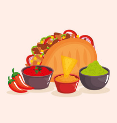 Delicious mexican tacos with sauces vector
