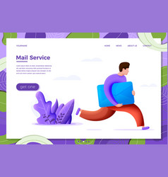 Delivery concept running boy with envelope vector