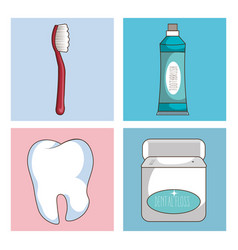 Dental care set icons vector