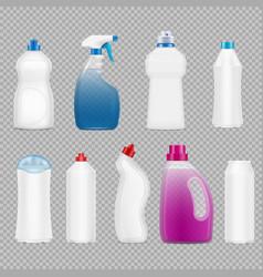 detergent bottles transparent set vector image