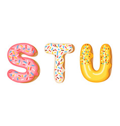 Donut icing upper latters - s t u font of vector