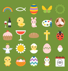 easter and spring icon and elements vector image
