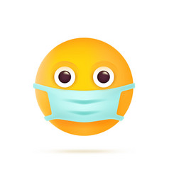 emoticon with medical mask coronavirus emoji vector image