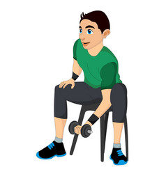 Exercising man lifting dumbells vector